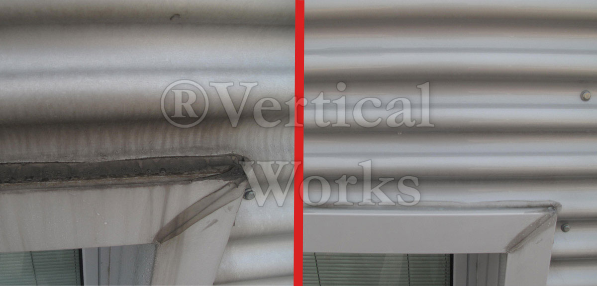 finestra prima e dopo lavaggio alucobond