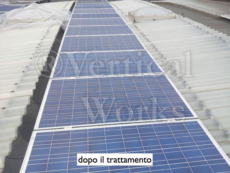 pannelli fotovoltaici dopo il trattamento chimico